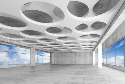 3d interior with round holes on ceiling