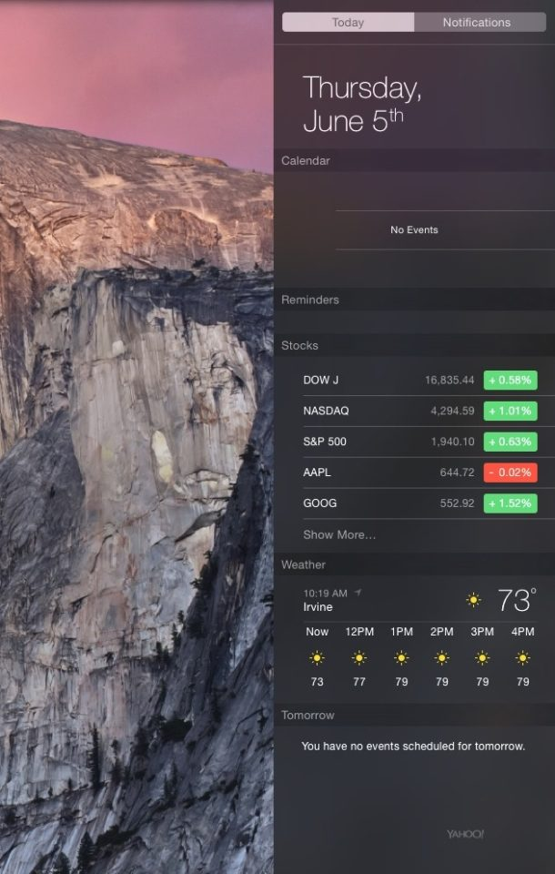 OS X Yosemite Notification Center