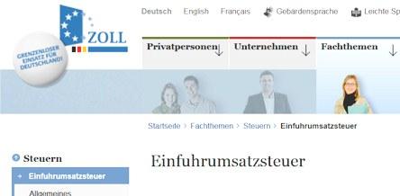 Einfuhrumsatzsteuer Quelle zoll.de